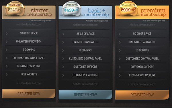 pricing table psd templates 24 37 Free Pricing Table PSD Templates