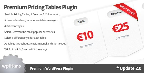 wordpress pricing table plugins 03 10 Free and Premium Wordpress Pricing Tables Plugins