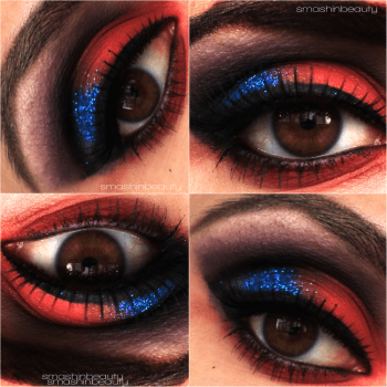 MakeupMonday smashinbeauty red blue glitter purple iron man 3 iron patriot armor makeup look