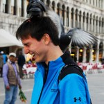 Two pigeons took a liking to junior David Stewart. Photo by Molly Howland.
