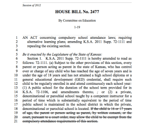 House Bill No. 2477: Compulsory School Attendance Changes