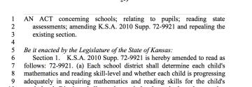 HB 2245: Third Grade Literacy Proficiency