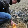Sophomore Will Oakley successfully lights his fire. Photo by AnneMarie Oakley.