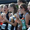Freshman girls enjoy a quick snack after the race. Photo by Neely Atha