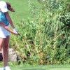 Senior Sophie Wetzler plays  her third hole of the South Invitational. Photo by Taylor Anderson