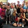 The girls' basketball team was given Ford scarves in support of Pink and Blue Night. Varsity will play at 5:30 p.m. and the whole team will be wearing pink socks and headbands. Photo by Marisa Walton