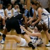 Senior Erin McGinley and Freshman Kyle Haverty fight for the jump ball. Photo by Katie Lamar