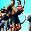 """Senior Drew Harding lifts senior Melissa Ator in the ending of the """"Mancer Dancer"""" dance."""
