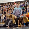 Sophomore Sean Overton tops the Fashion Club pyramid in the splits. Photo by Julia Poe