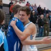 Seniors Gunnar Englund and Rockhurst's Noah Spencer meet after the game. The two played together before high school. Photo by James Wooldridge