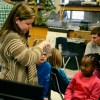 Senior Gabby Asher teaches the kids about their environment. Photo by Morgan Browning