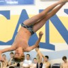 Sophomore Andrew Grinstead does his final dive. Photo by Morgan Browning