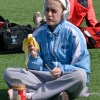 Sophomore Hope Dunn eats a snack to prepare her for her event. Photo by Kaitlyn Stratman