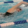 Junior Sarah Allegri swims the 200 yard freestyle. She won the event with a time of 2:00:29. Photo by Haley Bell