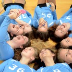 Sophomore volleyball team takes a selfie after their team pictures. Photo by Kaitlyn Stratman