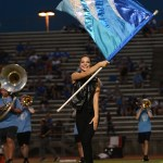 Senior Brooke Erikson performs with the Lancer Dancers during the halftime show. Photo by Haley Bell