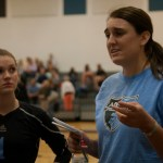 Coach Randi Williams Talks to the JV volleyball team after game. Photo by Ava Simonsen