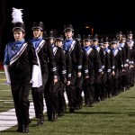 The marching band lines up to honor this year's seniors. Photo by Diana Percy