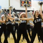 Varsity Lancer Dancers perform a Holiday Dance during halftime. Photo by Haley Bell
