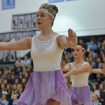 Junior Anna Dierks performs during the Varsity Lancer Dancer routine. Photo by Abby Blake