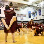 "The varsity Lancer Dancers perform their lyrical routine to the song ""Lean on Me"" at halftime. Photo by Diana Percy"