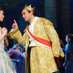 Senior Charlie Jensen as Price Charming and sophomore Savanna Worthington as Cinderella sing a duet during the ballroom scene. Photo by Haley Bell