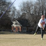 Senior Molly Manse throws a javelin during tryouts. Photo by Audrey Kesler