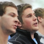 Junior Ryan Kahle recites the anti-bully pledge with friends. Photo by Haley Bell
