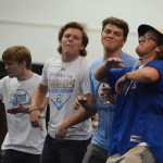 Seniors Jack Griswold, Jake Randa, Jack Barickman, and Jackson Ceule lead the new chant 'SME let's go.' Photo by Carson Holtgraves