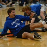 Juniors Collyn Lowry and Tommy Nelson laughing after losing round two of the tug of war. Photo by Carson Holtgraves
