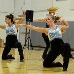 Senior Isa Tamburini performs with the Varsity Drill Team at the pancake breakfast. Photo by Ellen Swanson