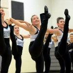 Freshman and JV Lancer Dancers Lauren Decker, Hattie Harden, and Amelia Commerford perform in a dance they learned at NDA camp in Emporia, Kansas. Photo by Maddie Smiley
