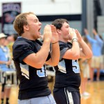 Seniors, and yell leaders, Parker Shirling and Stephen Shipley lead the junior section in a chant. Photo by Maddie Smiley