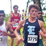 Senior Jack Young races down one of the first hills of the course. Photo by Libby Wilson