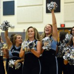 Varsity Lancer Dancers (From left to right) Emma Renwick, Tinka McCray, Isa Tamburini, Anna Dierks, and Hayley Bell dance and cheer for the video being filmed. Photo by Ellie Thoma