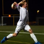Senior Stanley Morantz looks for a long throw in to the box, creating a scoring opportunity. Photo by Audrey Kesler
