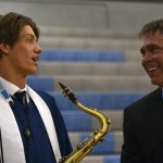 Senior Jake Lowe talks to Mr. Foley after the festival has ended. Photo by Morgan Plunkett
