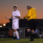 Senior Stanley Morantz argues with the ref on his call. Photo by Kaitlyn Stratman