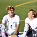 Senior Tommy Kerr and junior Ian Schutt engage in a conversation during halftime. Photo by Katherine Odell