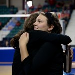 Senior Claire Pottenger hugs Freshman Brigid Wentz after their win. Photo by Kaitlyn Stratman