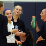 Senior Sara Maddox laughs with  Junior Ally Huffman, Junior Ali Slaughter, Senior Ally Offerdahl, and Junior Sydney Ashner at halftime. Photo by Ellie Thoma