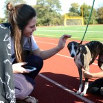 Senior Kelsey Cox pets one of the dogs at the pageant. Photo by Ellie Thoma