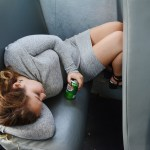 Junior Chloe Calderon-Housh takes a nap on the bus ride to the library. Photo by Diana Percy