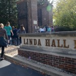 Portfolio/AP/IB Art students walk through the gates onto the library's campus. Photo by Diana Percy