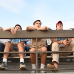 Seniors Connor Reig, Chace Prothe, and Max Leonard anxiously watch the game. Photo by Haley Bell