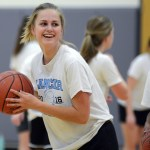 Sophomore Addie Von Drehle laughs during a drill. Photo by Ellen Swanson