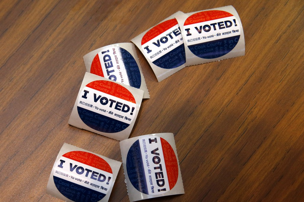 Voting stickers at First Presbyterian Church in River Forest on Tuesday, March 15, 2016 in Chicago. (Jose M. Osorio/Chicago Tribune/TNS)