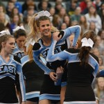 The competitive cheer squad bases Senior cheerleader Mallory Gray. Photo by Katherine Odell