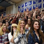 The student sections watches anxiously during a free throw towards the end of the game. Photo by Diana Percy