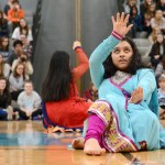Sophomore Aakriti Chaturvedi performs a traditional Bollywood dance. Photo by Diana Percy